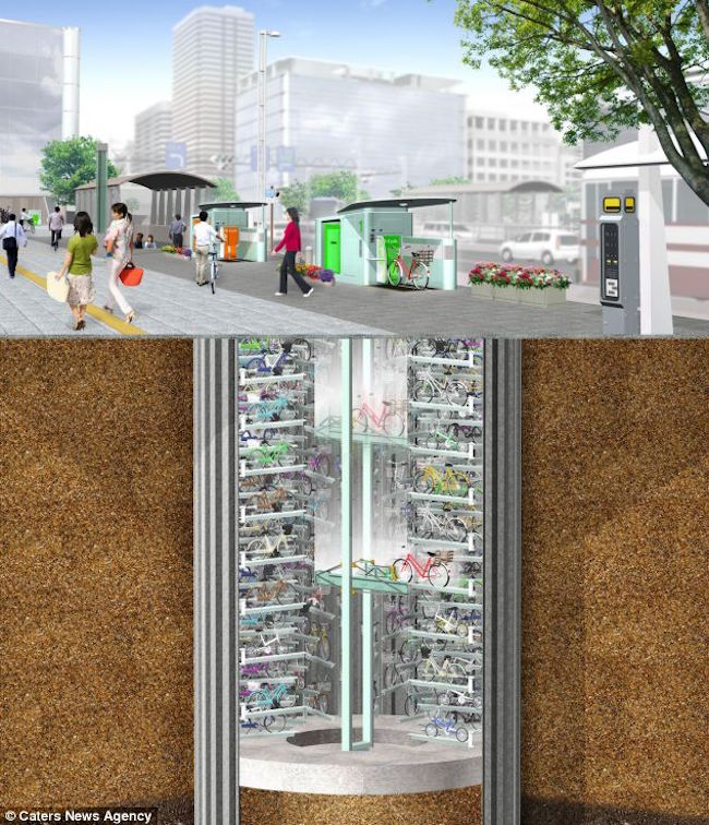 Tokyo's Incredible Underground Bicycle Parking System 3